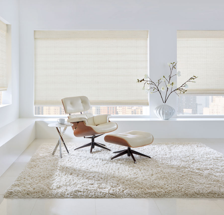 Living room with white woven shades