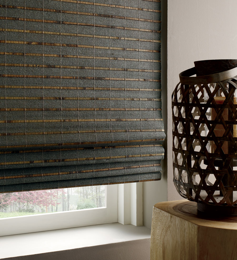 Moody toned woven woods shades