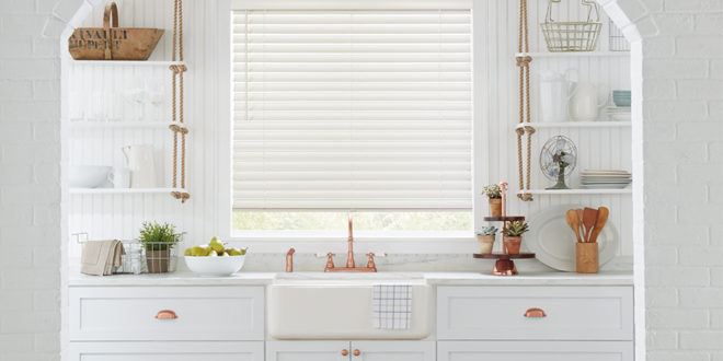 Shades of white kitchen with copper Hunter Douglas San Antonio 78249
