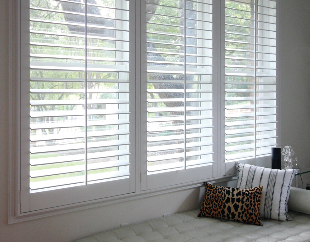 white interior window shutters Central Texas