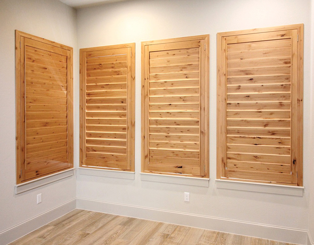 real wood interior plantation shutters Central Texas