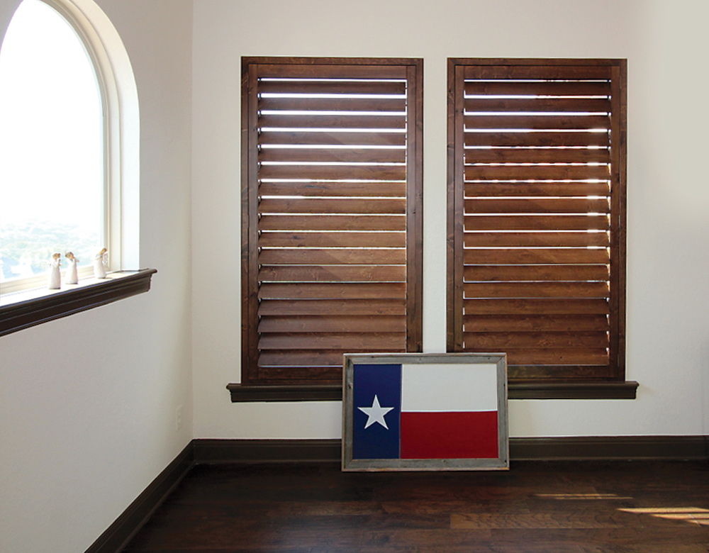 real wood interior window shutters Central Texas