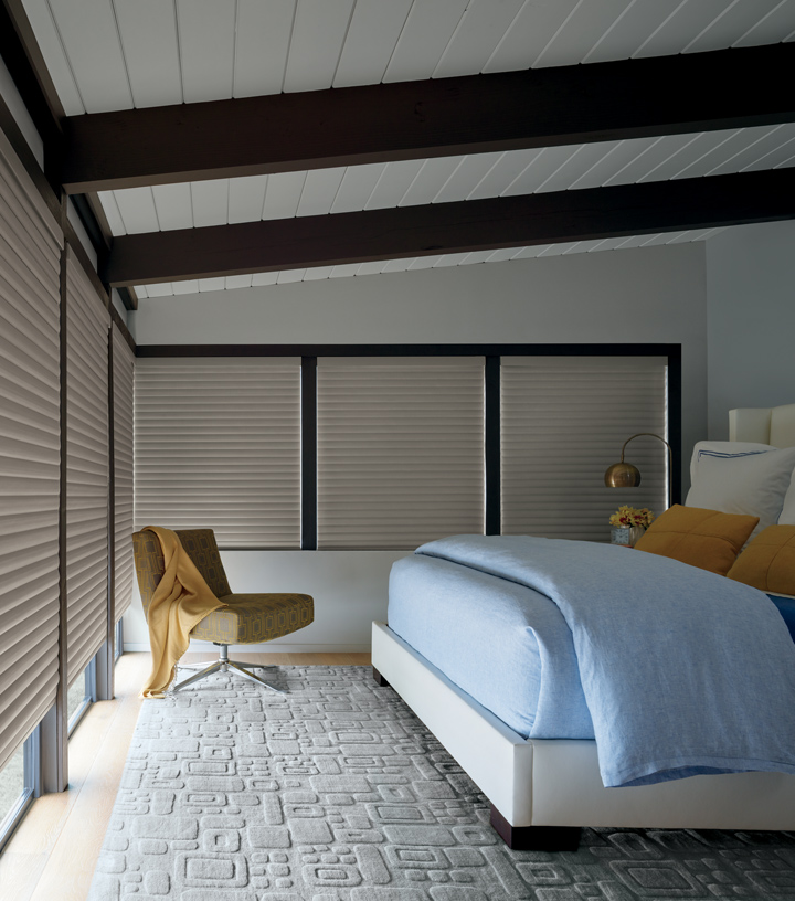 Hunter Douglas modern farmhouse bedroom room darkening shades cellular roller shades Central TX