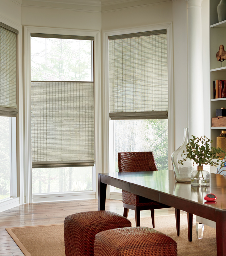 Hunter Douglas woven wood shades top down bottom up shades Central TX