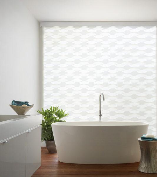 bathroom design geometric patterns Hunter Douglas designer banded window roller shades motorized blinds San Antonio