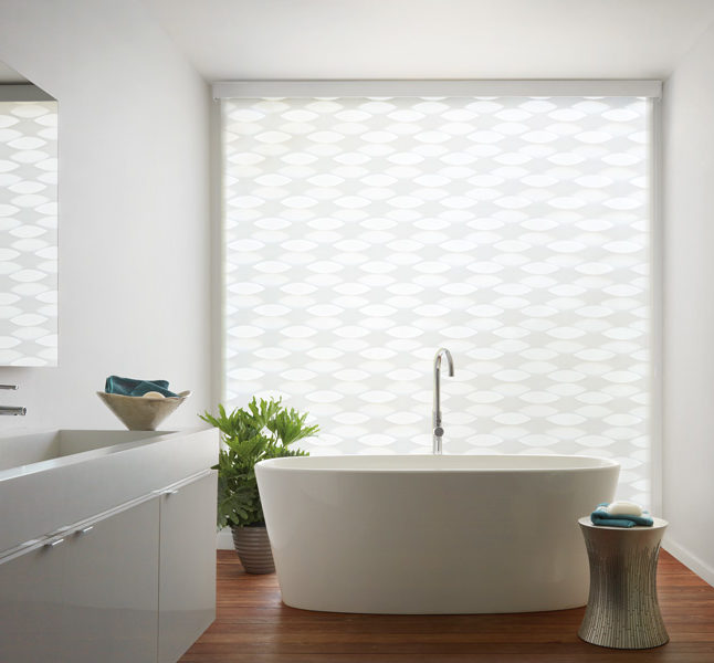 bathroom design geometric patterns Hunter Douglas designer banded window roller shades motorized blinds San Antonio