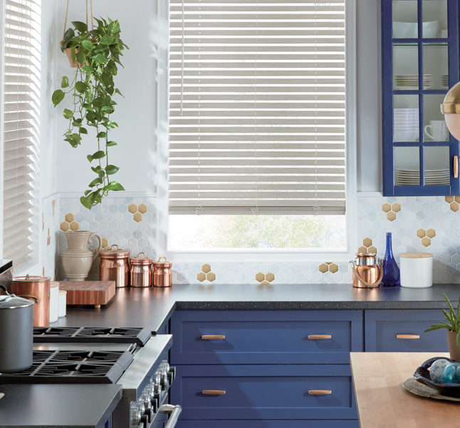 white kitchen faux wood blinds Hunter Douglas remote control blinds central texas