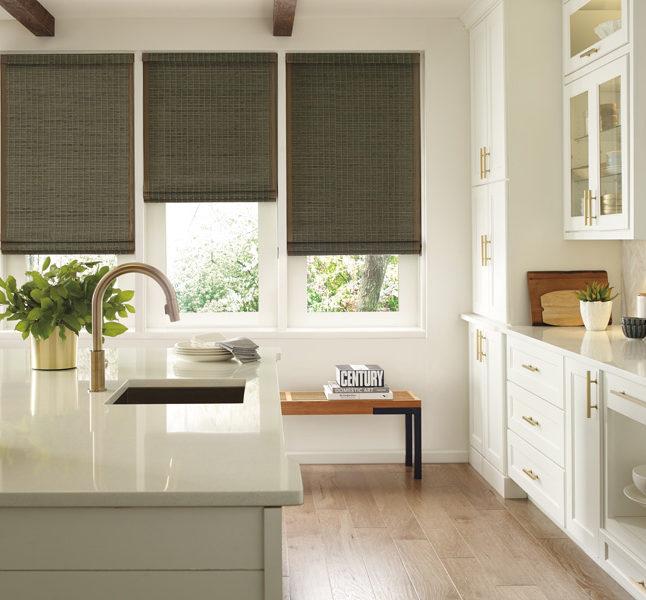 kitchen woven wood motorized shades in San Antonio