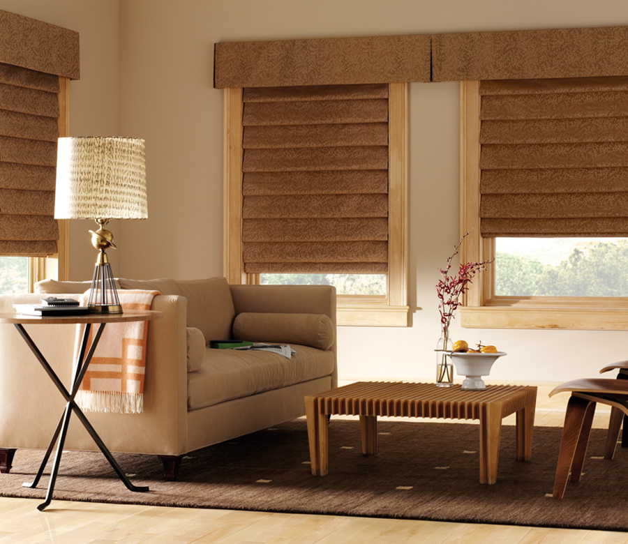 Hunter Douglas living room fabric custom roman shades with top treatments San Antonio