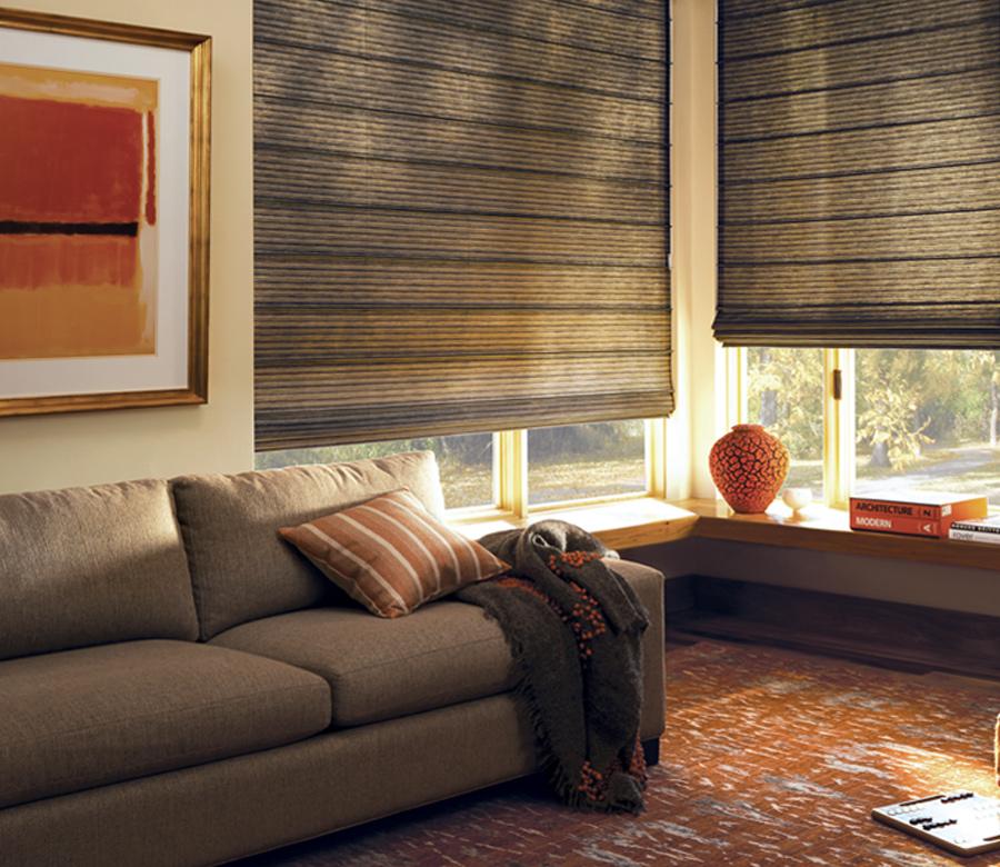 Hunter Douglas living room design studio custom roman shades San Antonio