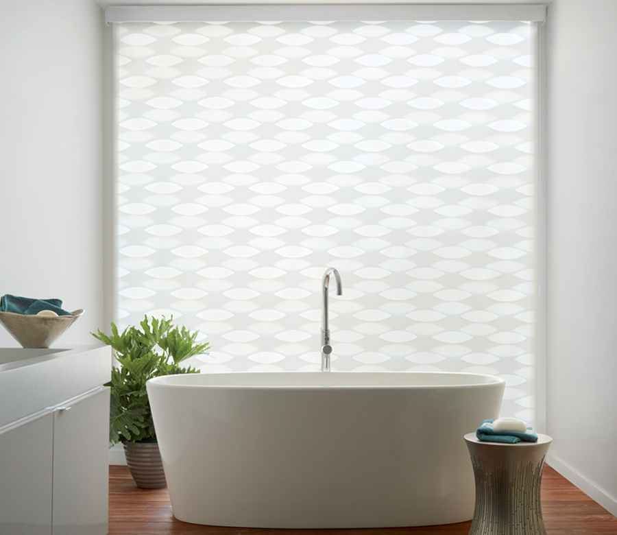 white patterned floor to ceiling blinds Hunter Douglas designer banded window roller shades San Antonio