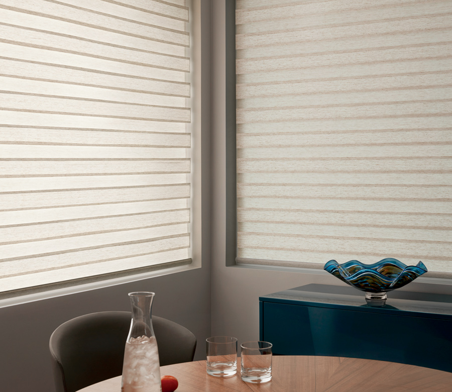closed Hunter Douglas designer banded window roller shades San Antonio