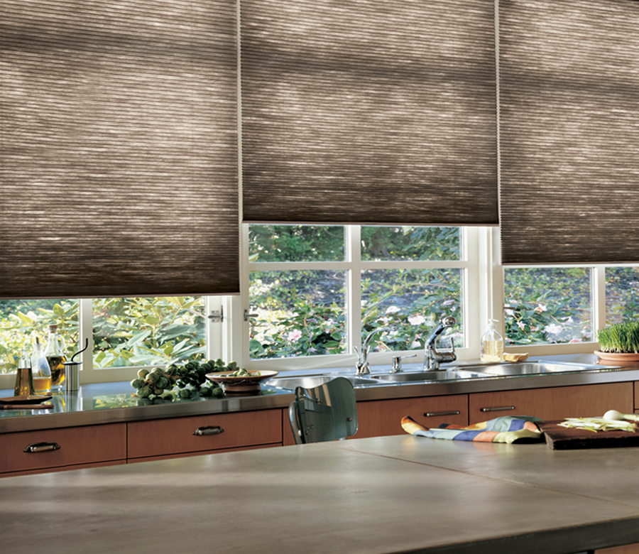 kitchen brown color scheme Hunter Douglas Duette honeycomb shades San Antonio