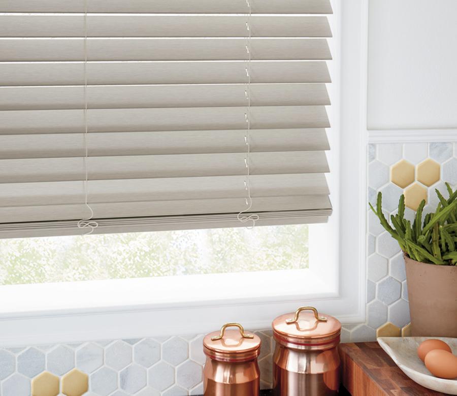 greige colored faux wood blinds Hunter Douglas blinds San Antonio