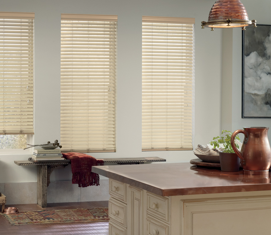 modern farmhouse Hunter Douglas faux wood blinds San Antonio