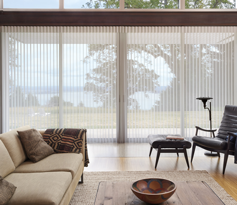 shades for sliding doors Luminette privacy sheers Hunter Douglas San Antonio