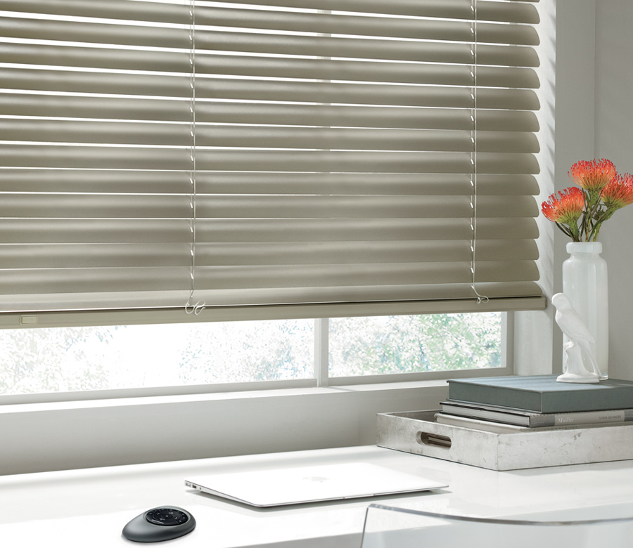 Hunter Douglas home office metallic blinds San Antonio