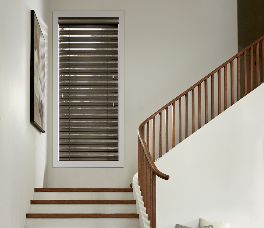 Hunter Douglas staircase entryway aluminum blinds San Antonio