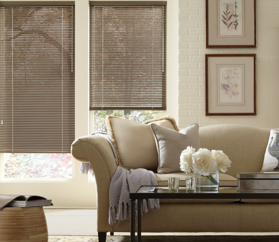 Hunter Douglas living room metal blinds San Antonio