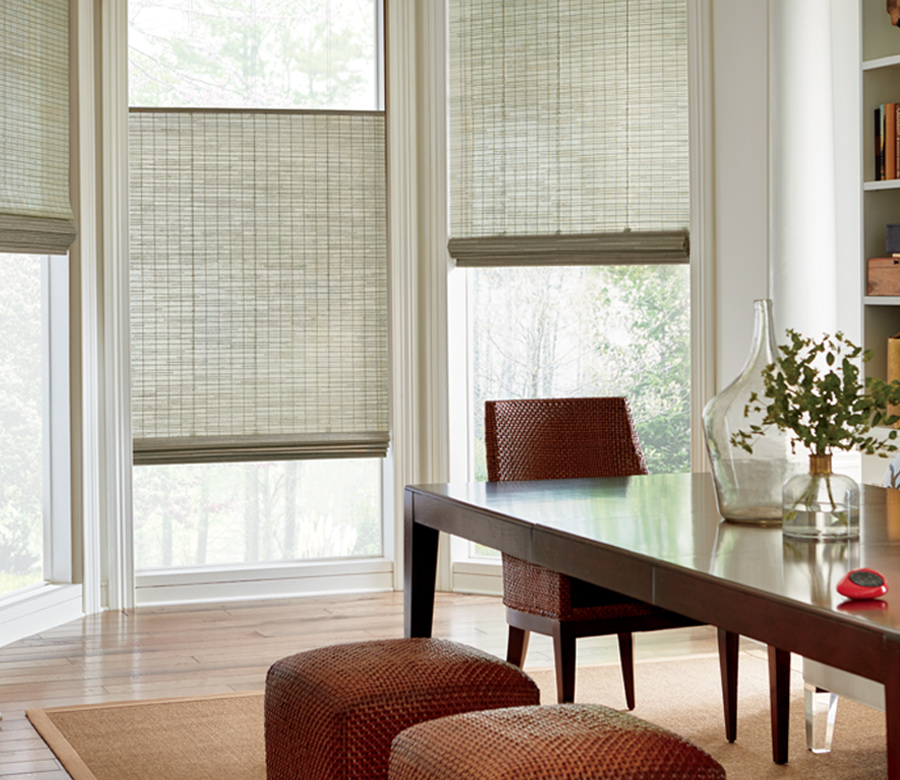 dining room three windows provenance woven wood shades top down bottom up shades San Antonio