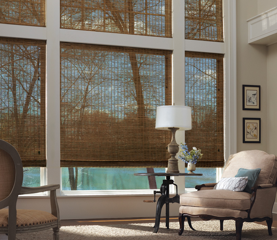 living room large windows with woven wood shades in San Antonio TX