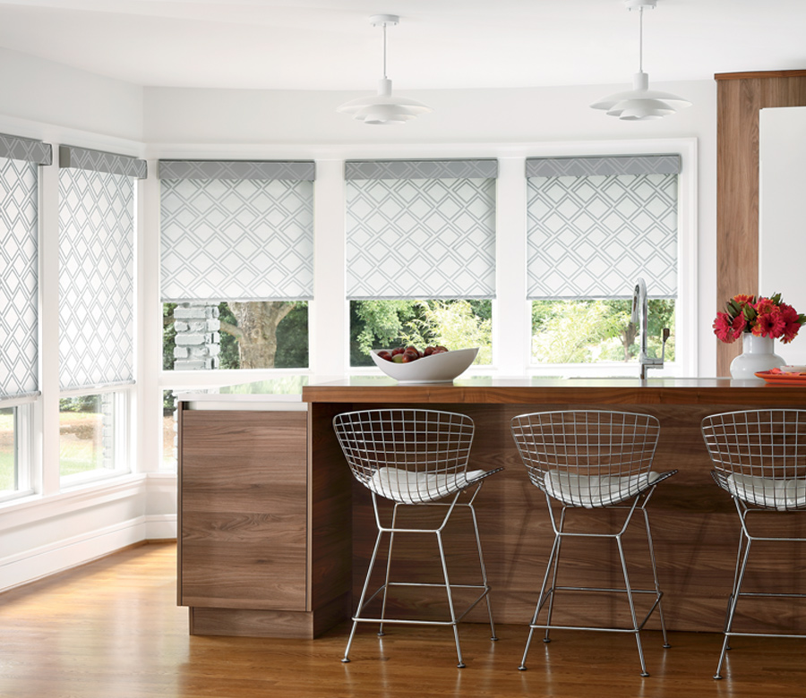 Hunter Douglas white and gray patterned roller shades San Antonio
