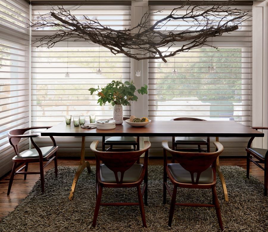 dining room see through sheers Hunter Douglas silhouette shades San Antonio