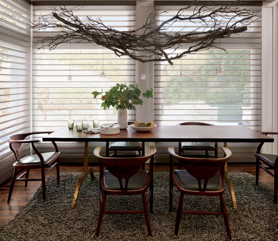 dining room see through sheers Hunter Douglas silhouette shades San Antonio