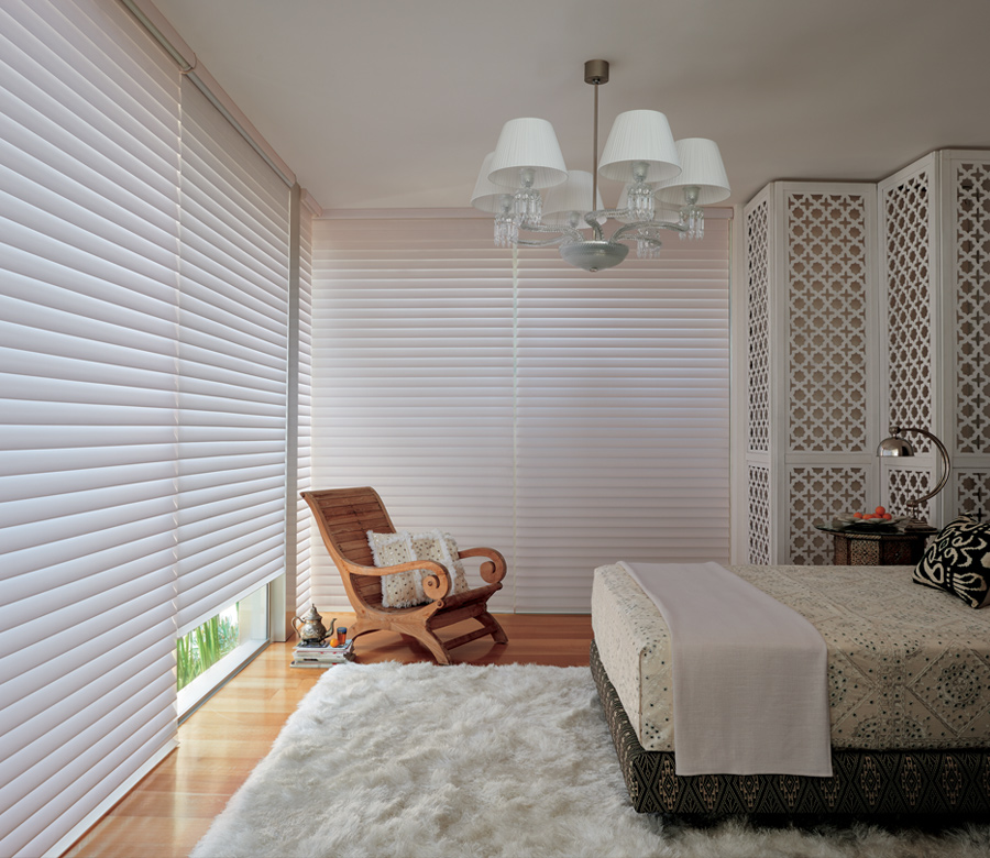 bedroom room darkening Hunter Douglas silhouette shades San Antonio