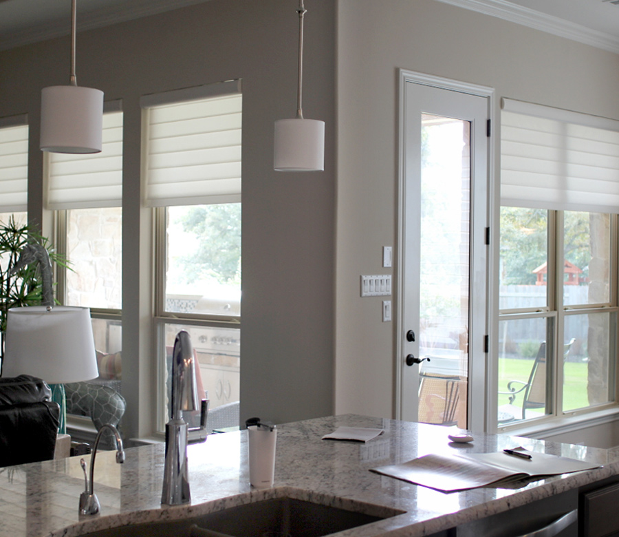 Hunter Douglas white roman shades San Antonio