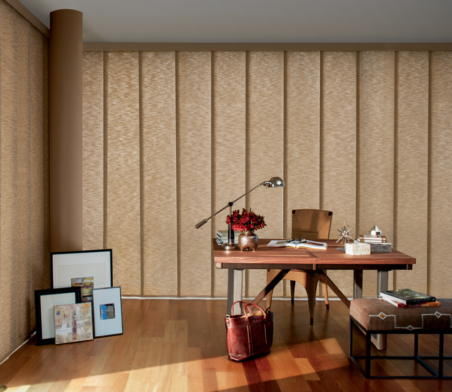 Hunter Douglas home office panel track blinds San Antonio