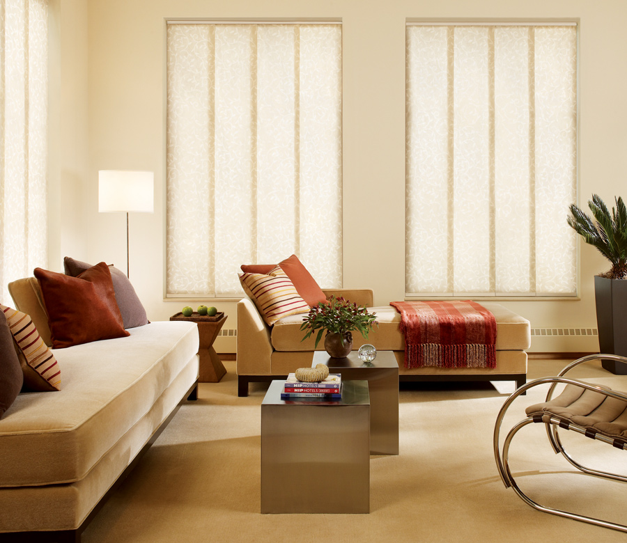 Hunter Douglas living room panel track blinds San Antonio