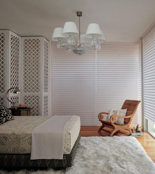 bedroom silhouette shades Hunter Douglas room darkening automatic shades San Antonio