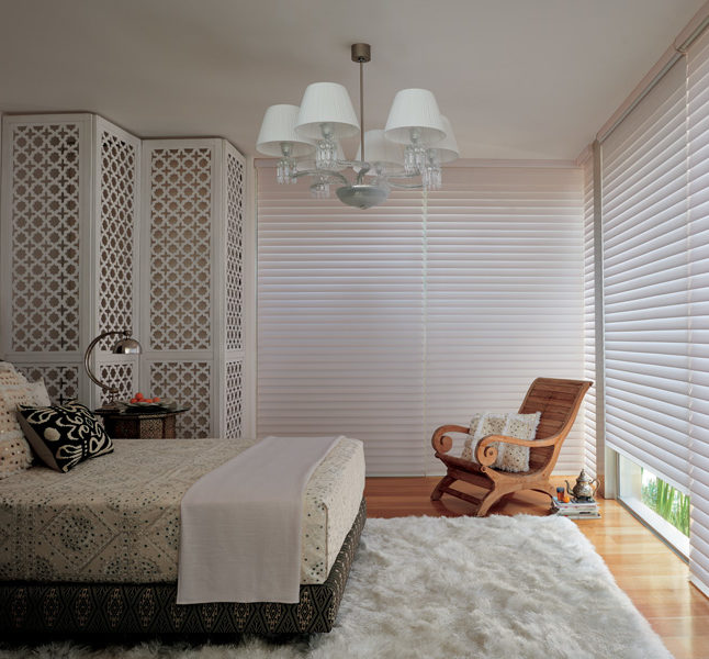 bedroom silhouette shades Hunter Douglas room darkening automatic shades San Antonio