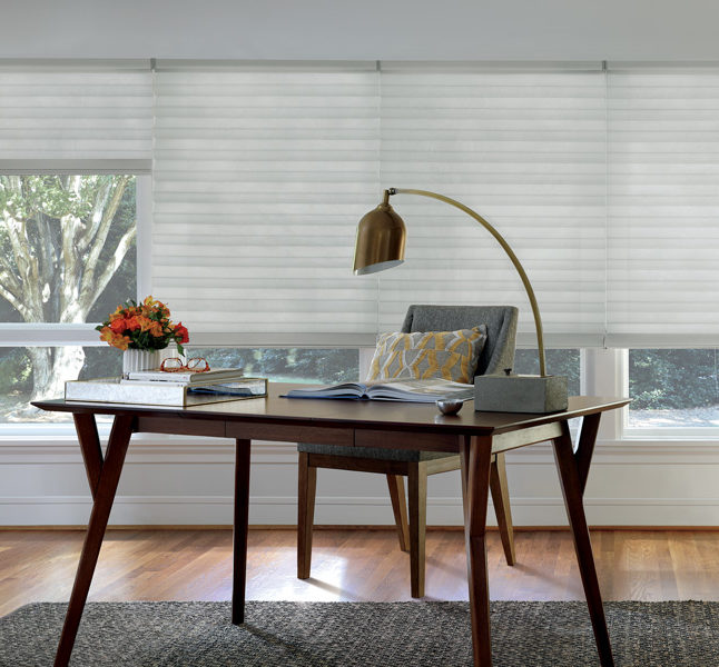 white home office Hunter Douglas roman shades motorized blinds San Antonio