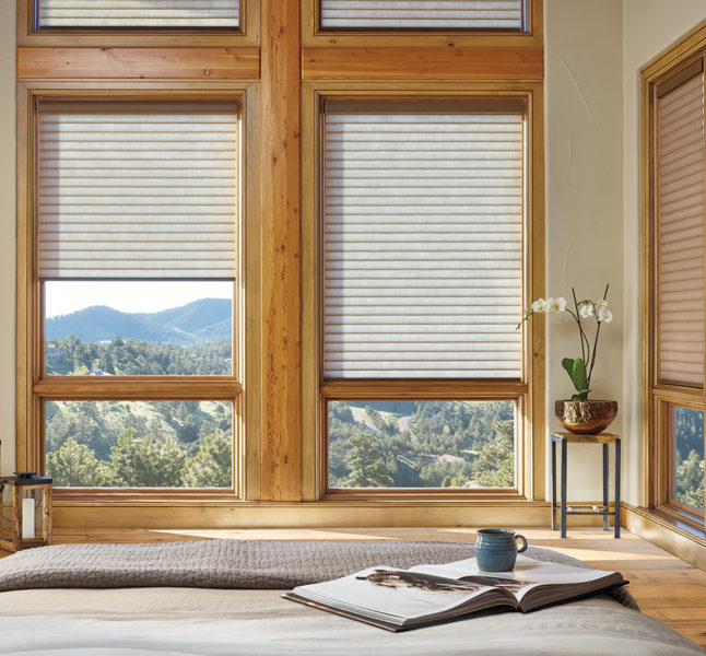 bedroom energy savings with thermal shades Hunter Douglas motorized shades San Antonio