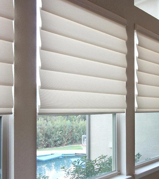 waterfalling vignette modern roman shades Hunter Douglas remote control blinds San Antonio