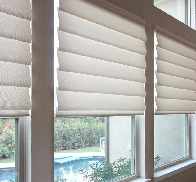 waterfalling vignette modern roman shades Hunter Douglas remote control blinds San Antonio