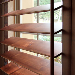 close up real wood louvers for custom shutters San Antonio