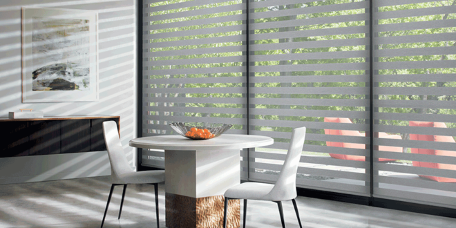 designer banded shades covering floor to ceiling windows Hunter Douglas San Antonio 78249