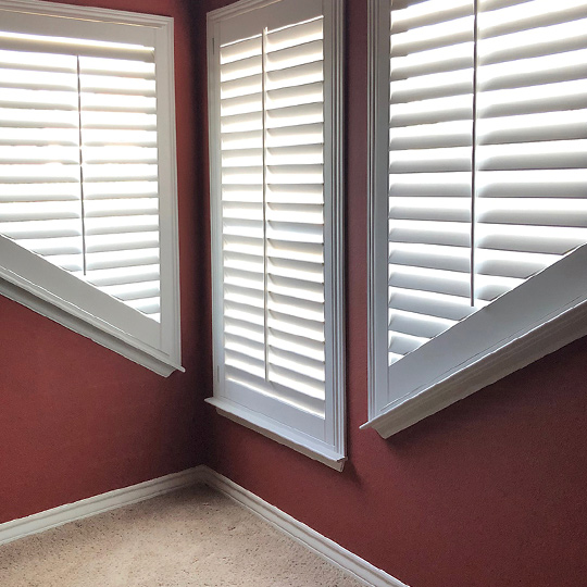 specialty shape angled window shutters San Antonio