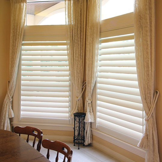 real wood plantation shutters with hidden tilt bar San Antonio