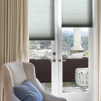 how to cover french doors with window treatments Hunter Douglas san antonio