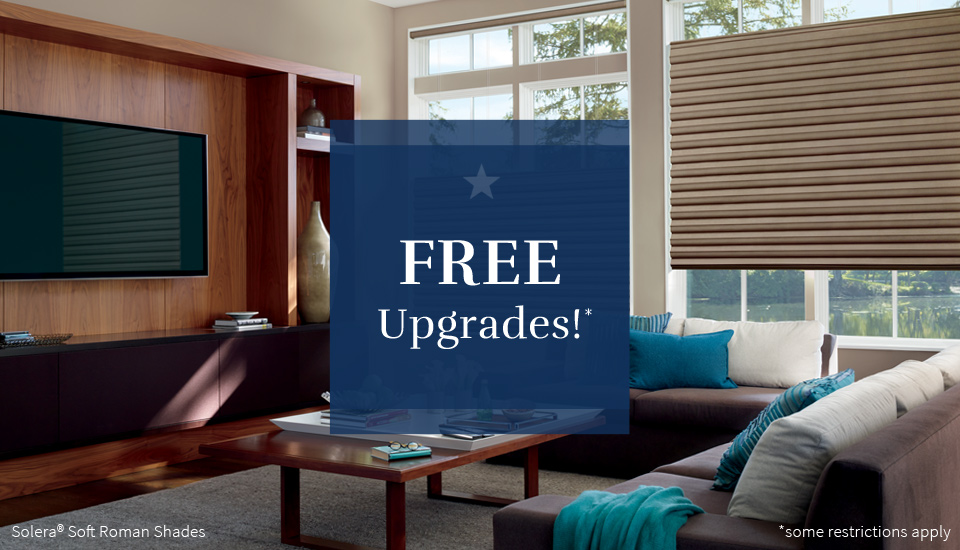 free upgrades for window treatments Hunter Douglas san antonio