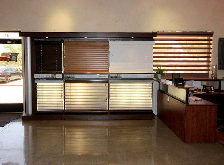 window blinds and shades on display at san antonio window fashions of texas showroom