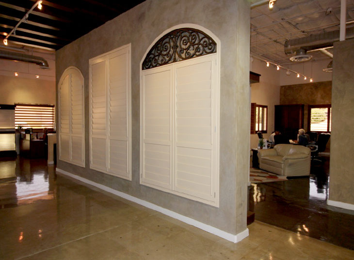 plantation shutters on display at window treatment store san antonio TX