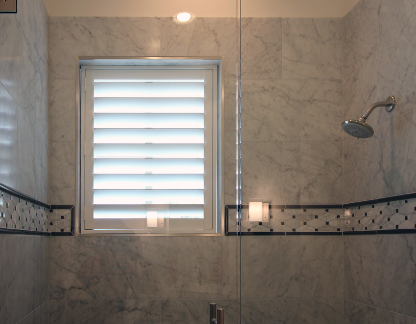 modern shower with interior window shutters San Antonio 78249