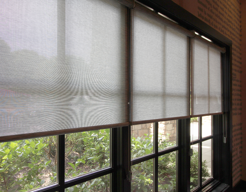 detailed screen shades on large window Hunter Douglas San Antonio
