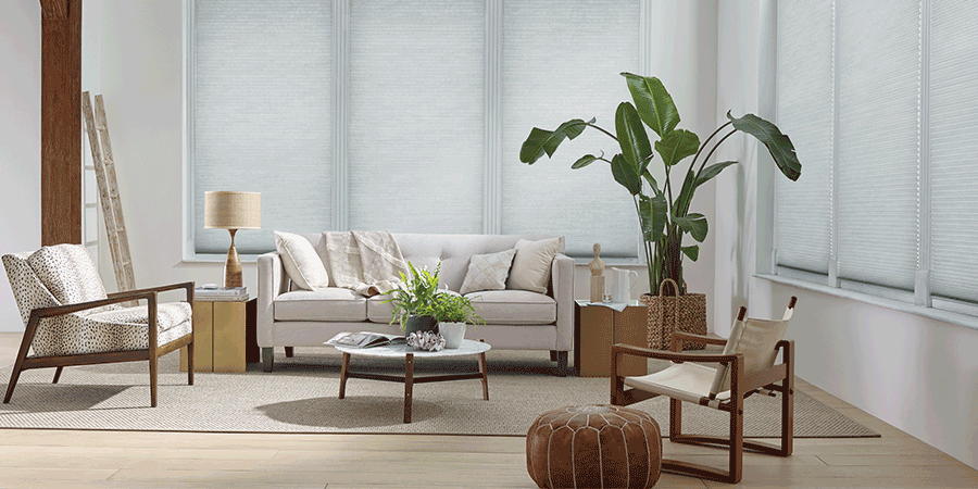 Modern living room with shades drawn in San Antonio, TX.