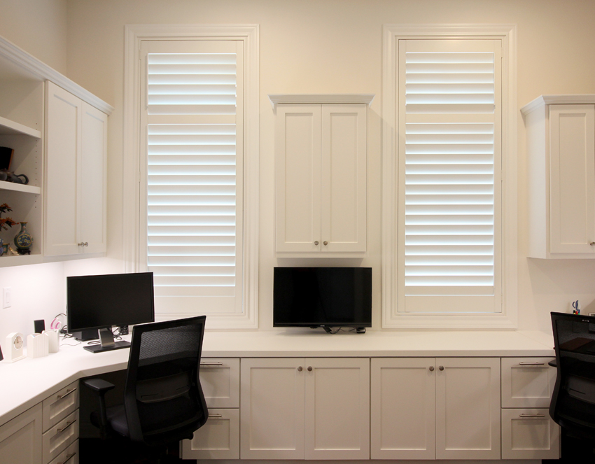 home office with white plantation shutters san Antonio